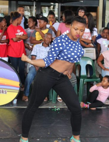 DANCING QUEEN: Yolisa Siphamla moving with the beat as she breaks a move