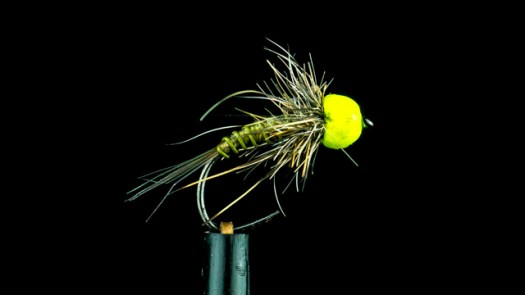 Tungsten bead-head olive nymph