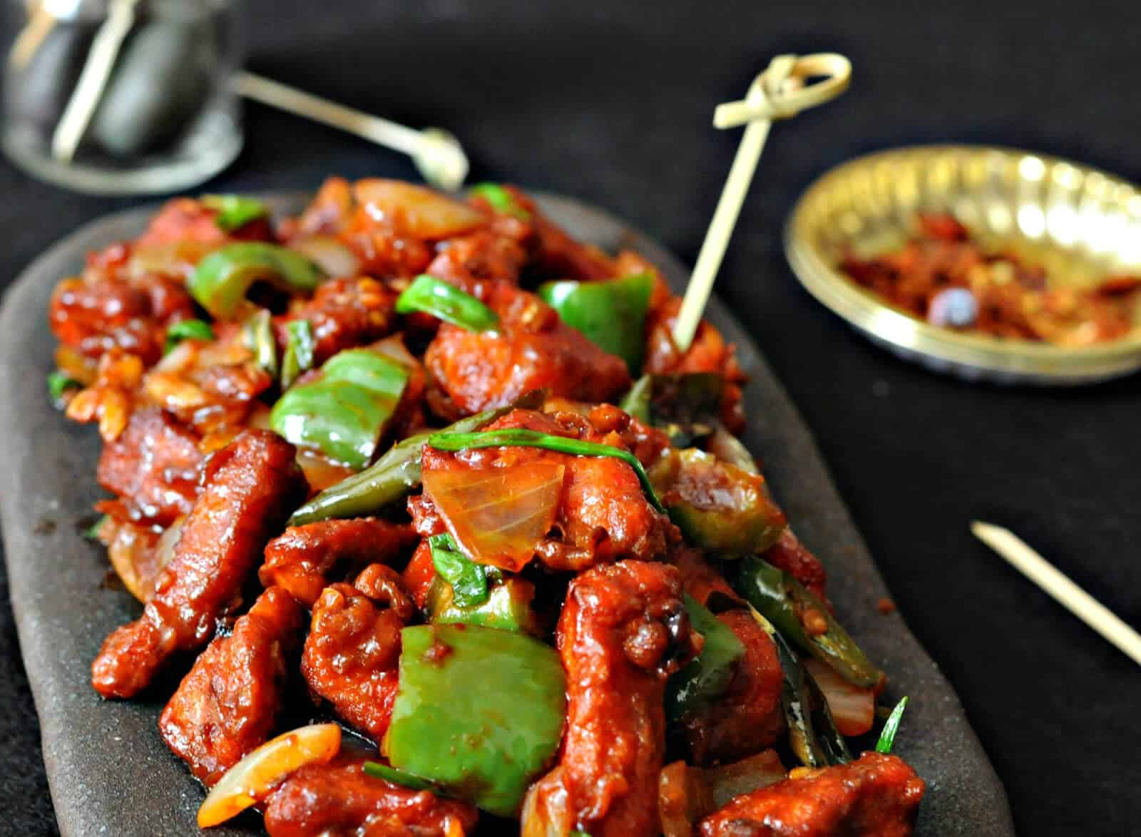 Schezwan Chilli Chicken - Crispy chicken with spicy schezwan sauce