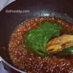 spinach puree in absolutely perfect palak paneer