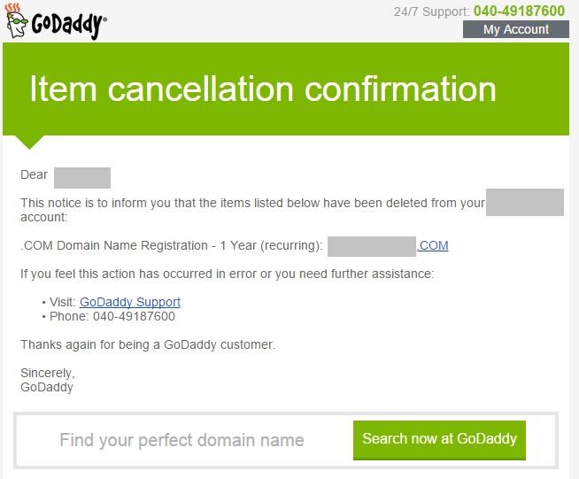 Delete Domain Name registration 5