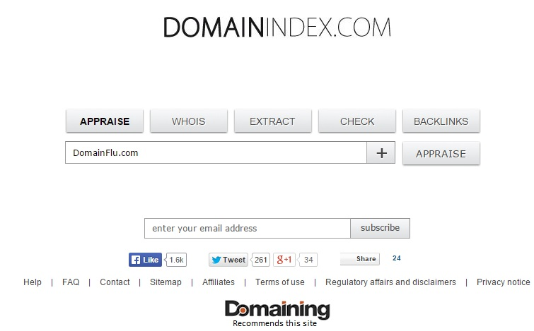 Domain Name appraisal tool domain index