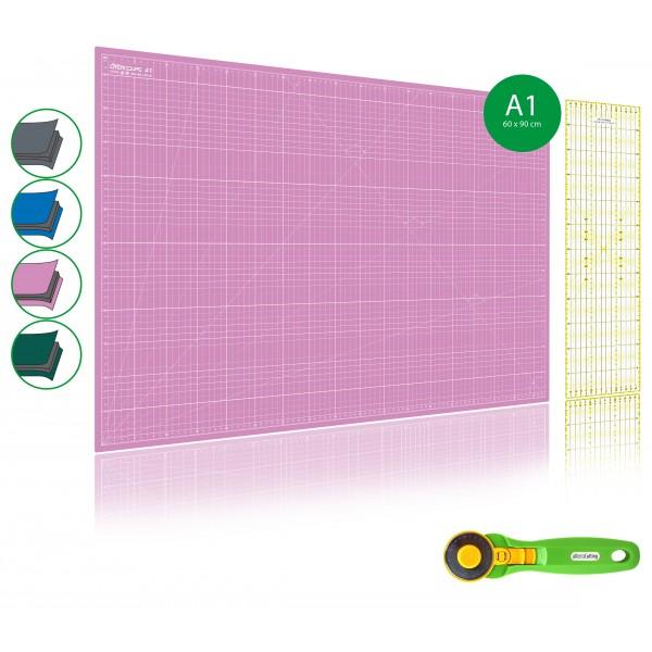 kit de couture tapis de decoupe rose a1 60x90cm cutter rotatif 45mm et regle patchwork 15x60cm