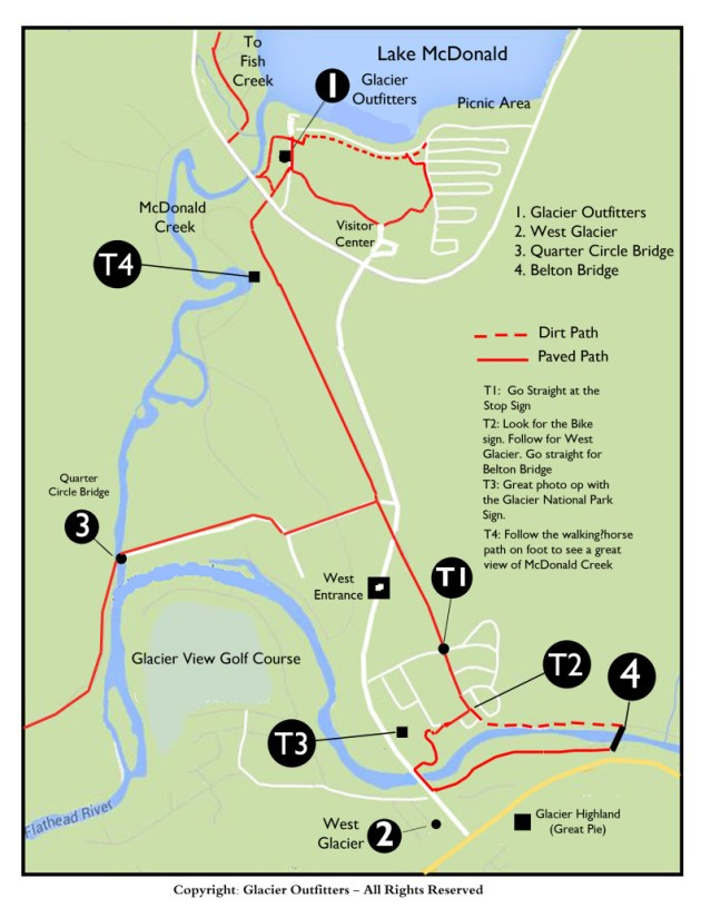 Bike map for West Glacier - Apgar Village - Glacier National Park
