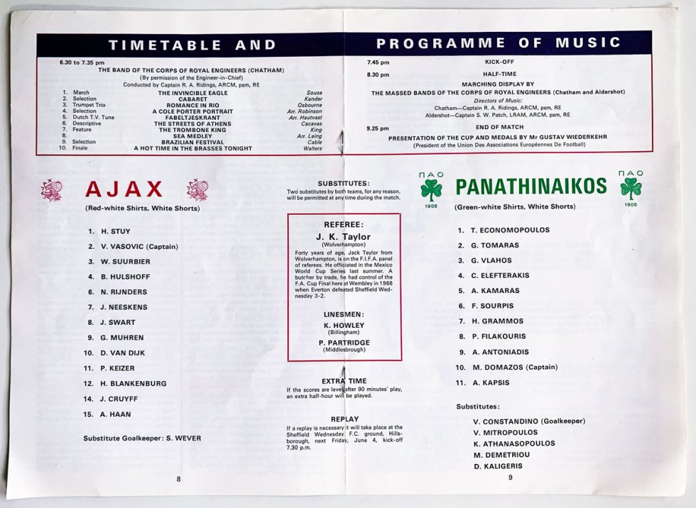 Ajax - Panathinaikos 1971 opstellingen