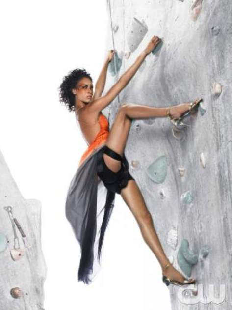 """""""The Girls Go Rock Climbing"""" -- The girls are left hanging in the air for an edgy fashion photo shoot on a rock-climbing wall, on America's Next Top Model on The CW. Pictured: Lisa Photo: Matthew Jordan Smith/Pottle Productions Inc ©2007 Pottle Productions Inc. All Rights Reserved."""