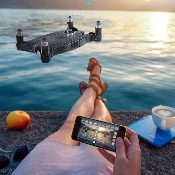 Ultradünne Drohne 3D Flip WiFi Echtzeit-RC Quadcopter mit 720P Kamera & LED,FPV, One Key Return