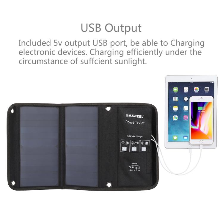 Solar Ladegerät Solapanel mit Dual USB 14W 5V 2.1A