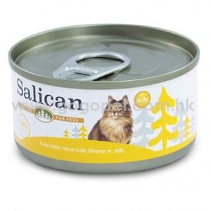 Salican森林罐 - 白肉吞拿魚鮮蝦啫喱貓罐頭 - 85g (黃) 主食罐