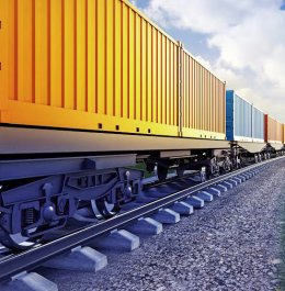 wagon of freight train with containers