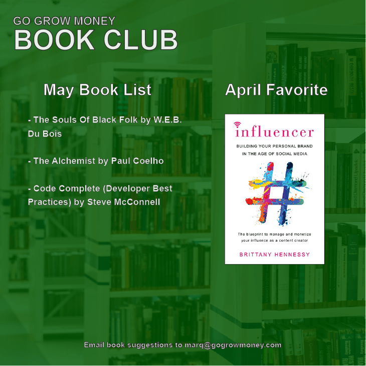 Go Grow Money Monthly Book Club May Lineup