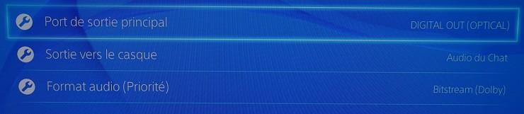 Paramètres de sortie audio PS4 Menu