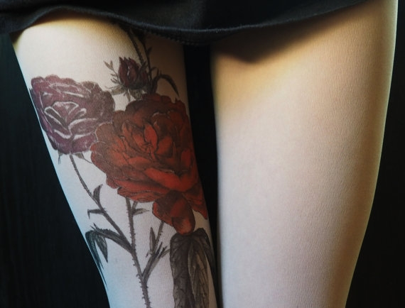 red roses tattoo tights
