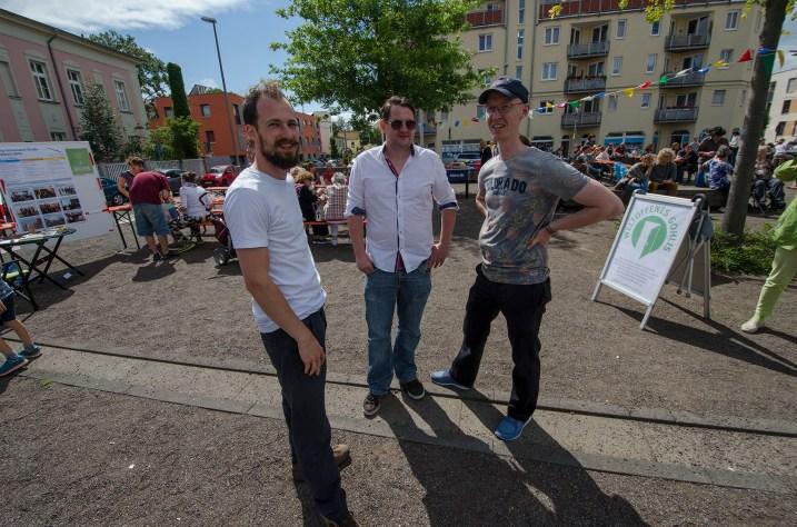 Michael Seeber, Alexander Yendell und Peter Niemann beim Gohliser Kinder- und Sommerfest; Foto: Andreas Reichelt