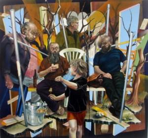 Metulczki, Die Kunden, 2015, 140 x 150 cm, Acryl auf LW