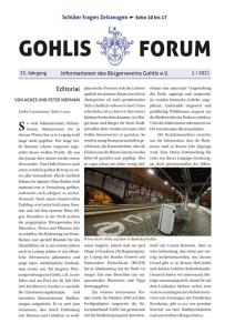 Gohlis Forum 1/2021 Titel; Editorial Design: Reichelt Kommunikationsberatung