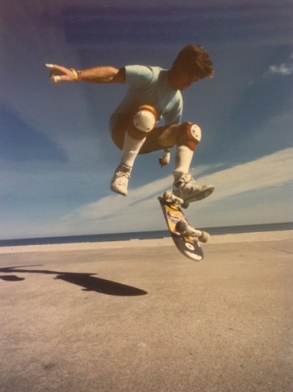 Double flip no comply on a hotel beach patio in Ocean City, 1988.