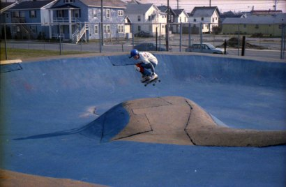 Your author with a backside air out of the bowl, circa 1988.