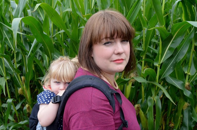 Baby wearing in York Maze