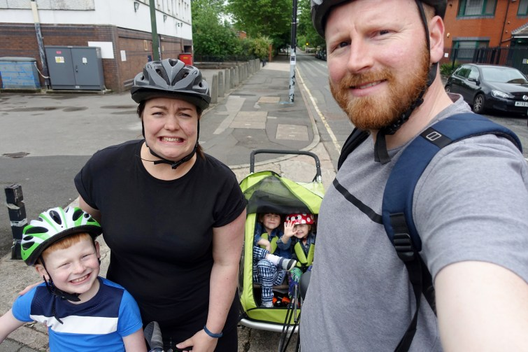 Me & Mine family photo on bikes - May 2017