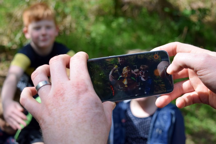 Taking photos with the augmented Gruffalo Spotters app