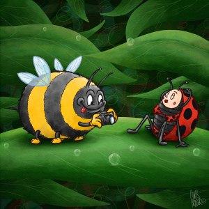 Bee and ladybird