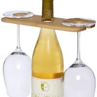 tabla para vino y copas de bambú