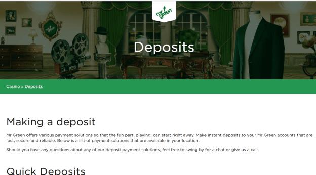 Mr Green Deposits