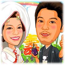 野菜農家の新婚さん似顔絵ウェルカムボード