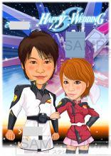 結婚式似顔絵ウェルカムボード:機動戦士ガンダム-1