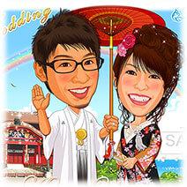 沖縄首里城着物似顔絵ウェルカムボード