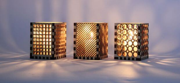 Patterned Handmade Wooden Lampshades