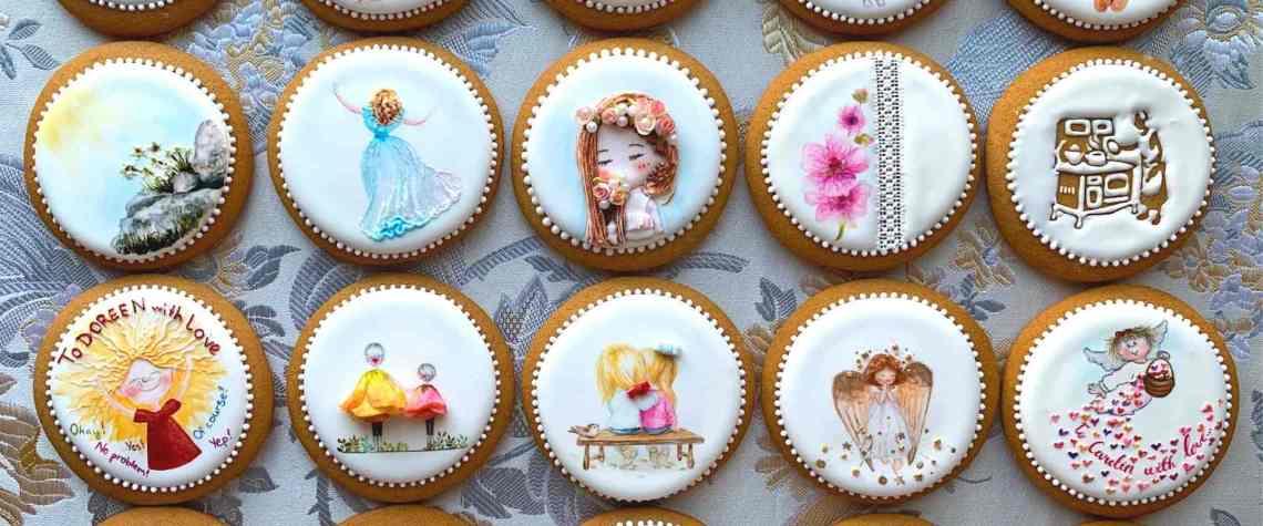Wunderschöne Motive gemalt auf einem Keks