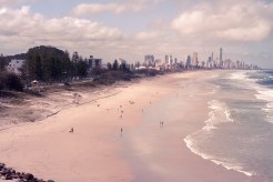 The long stretching beach that goes all the way to Surfers Paradise