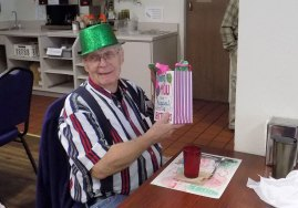 senior celebrating a birthday at gold country community center