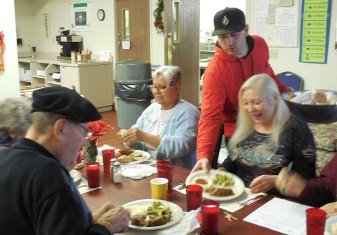 serving lunch at senior center in nevada county
