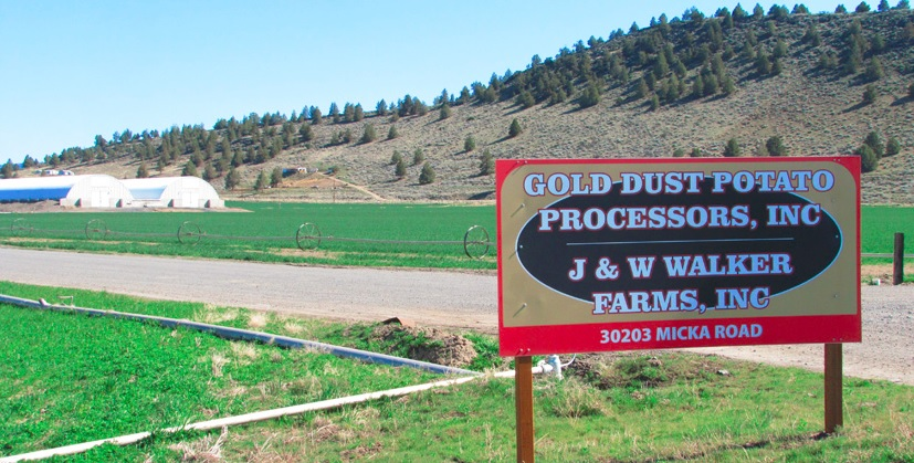 The Gold Dust Potato Processors Sign at Gold Dust's Malin, Oregon, campus.