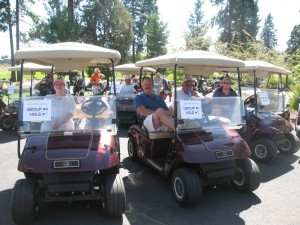 Gold Dust staff and guests load into the carts and get ready to scramble