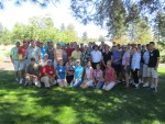 The Gold Dust Potatoes staff and guests group shot before kicking off the golf scramble