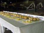 A table with chipping potato and potato chip samples in the Gold Dust packing shed.