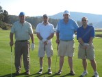 Mike Delisle, Kyle Brungardt, Bill Walker and Ken Hibbard at the Running Y Ranch's golf course.