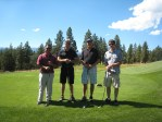 Moua Lo, Paul Sproule, Sid Staunton and Dan Jepsen at the Running Y Golf Course for Gold Dust's 2012 Open House Field Day.
