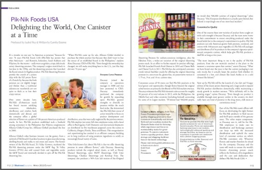 "Pages 112-113 of the Winter Edition 2013 US Business Executive, article ""Pik-Nik Foods USA: Delighting the World, One Canister at a Time"" featuring Alma Dacanay"