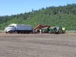 A potato planter is being filled at the Running Y Ranch in Klamath Falls, Oregon.