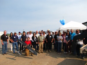 Gold Dust Potatoes' guests gather for a UAV presentation by HoneyComb Corp.