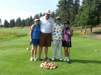 Nancy Kim, Bill Walker, Mr. Kim and Sunny Kang at the 2013 Open House Field Day golf scramble held by Gold Dust Potato Processors.