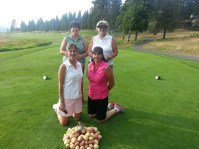 A team photo of Nancy Reece, Jan Walker, Suzi Frederickson and Dianne Spires at the Gold Dust Potato Processors 2013 Open House Field Day golf scramble.