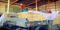 The Gold Dust Potato Processors office staff decorating a float for the 76th Annual Klamath Basin Potato Festival.