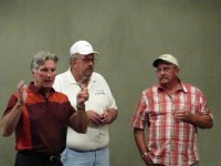 Paul Sproule with Bill and Jon Walker talking to the guests at Gold Dust's 14th Annual Open House Field Day at the Running Y Ranch resort.