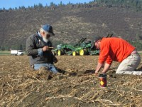 Mark Smith and Bart Crawford checking the temperature of chipping potatoes before allowing the potato harvesters to start digging.